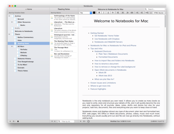 macOS Plain Text Notes App