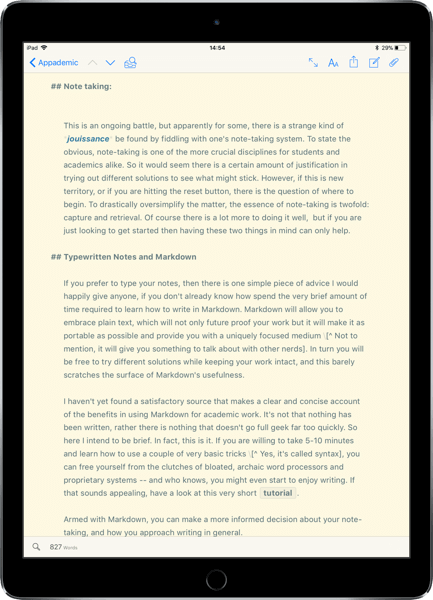 Ulysses iPad Writing